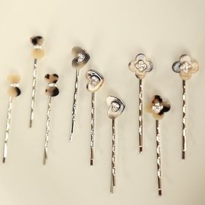 NWT 9 PIECE Tortoise Shell Gold Bobby Hair pins